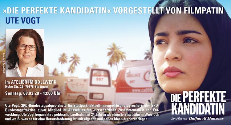 Links Ute Vogt auf der Einladung, rechts die Saudi-arabische Hauptdarstellerin