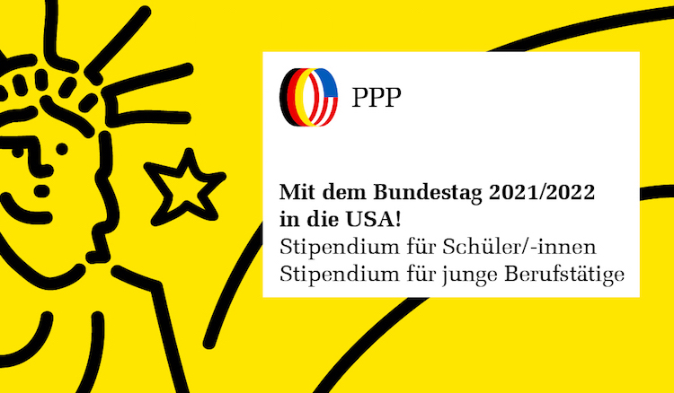 Vor gelbem Hintergrund eine Strichzeichnung der Freiheitsstatue