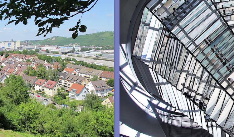 In der linken Bildhälfte ein Blick über das Stuttgarter Neckartal, rechts die Kuppel des Reichstagsgebäudes